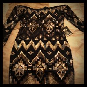Black Express sequin dress NWT